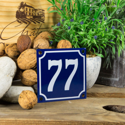 Huisnummerbord klein 'blauw' 77