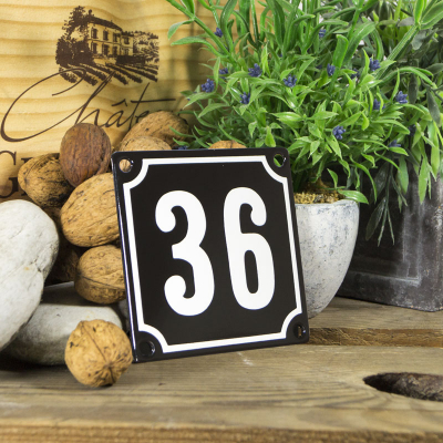 Huisnummerbord klein 'zwart' 36