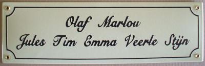 Naambord 40 x 12 cm