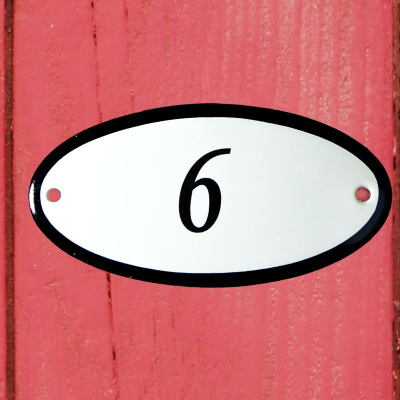 Huisnummerbordje 'ovaal' 6