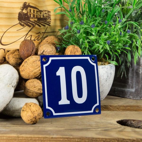 Emaille klein huisnummerbord blauw; nummer 10
