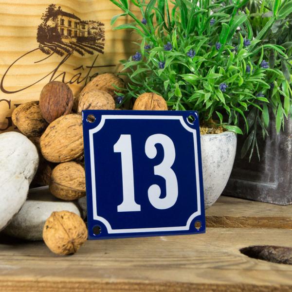Emaille klein huisnummerbord blauw; nummer 13