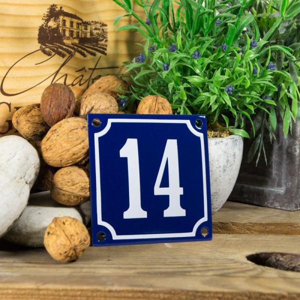 Emaille klein huisnummerbord blauw; nummer 14