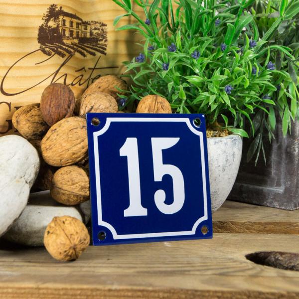 Emaille klein huisnummerbord blauw; nummer 15