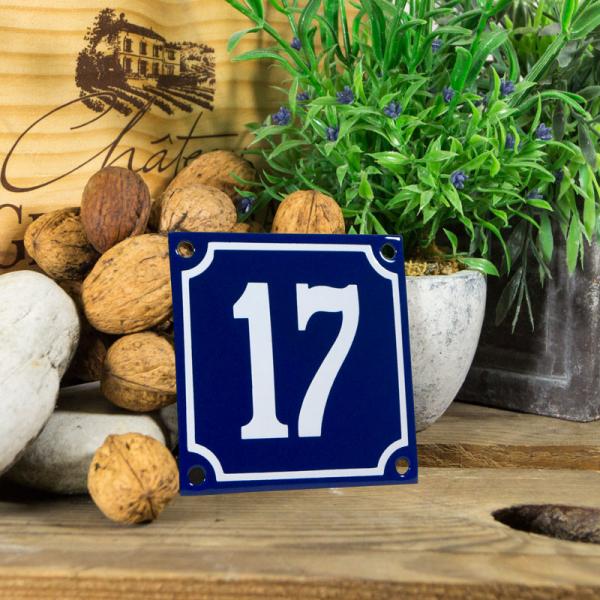 Emaille klein huisnummerbord blauw; nummer 17