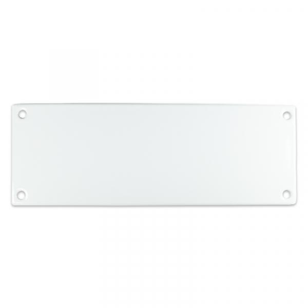 Emaille bord van 20 bij 7 cm, eigen opdruk mogelijk.