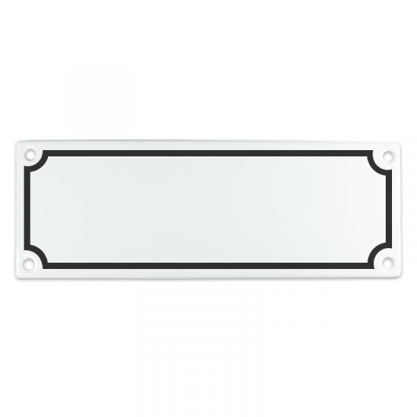 Emaille bord van 20 bij 7 cm met kader, eigen opdruk mogelijk.