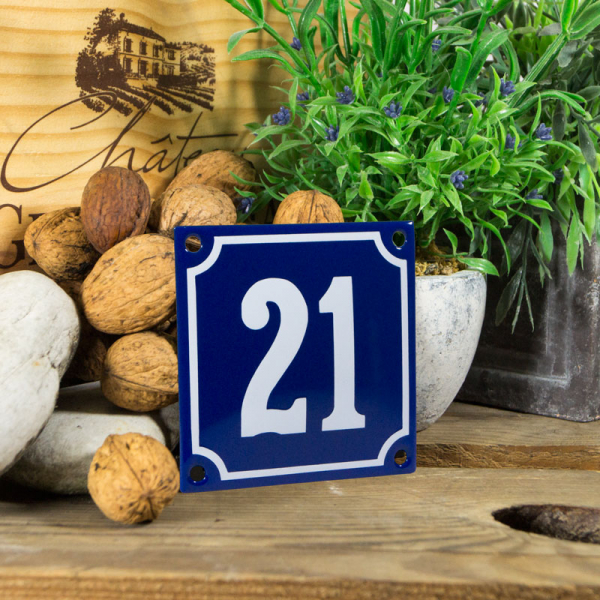 Emaille klein huisnummerbord blauw; nummer 21