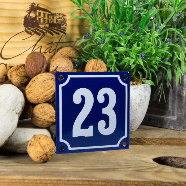 Emaille klein huisnummerbord blauw; nummer 23
