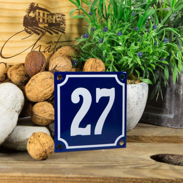 Emaille klein huisnummerbord blauw; nummer 27