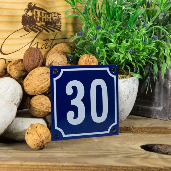 Emaille klein huisnummerbord blauw; nummer 30