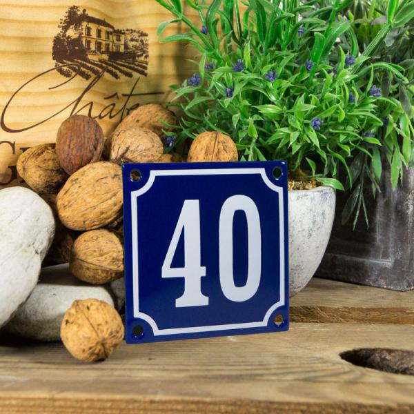 Emaille klein huisnummerbord blauw; nummer 40