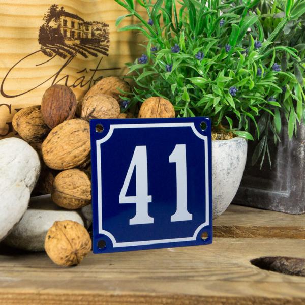 Emaille klein huisnummerbord blauw; nummer 41