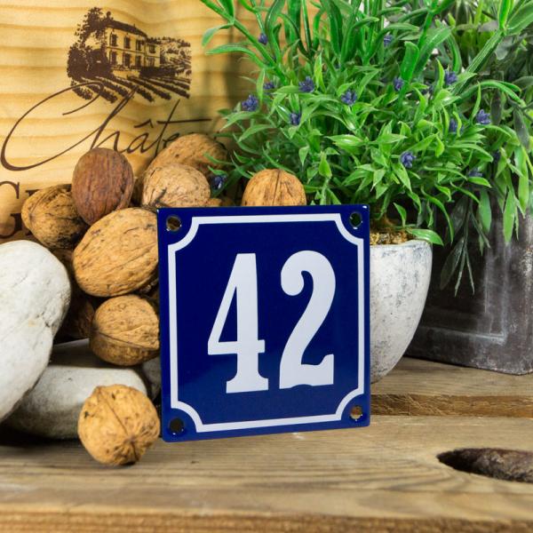 Emaille klein huisnummerbord blauw; nummer 42