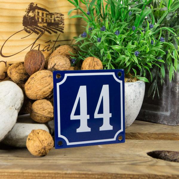 Emaille klein huisnummerbord blauw; nummer 44