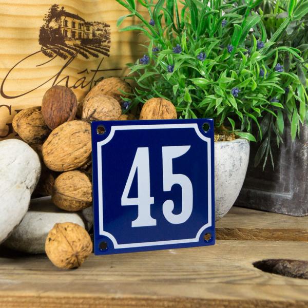 Emaille klein huisnummerbord blauw; nummer 45