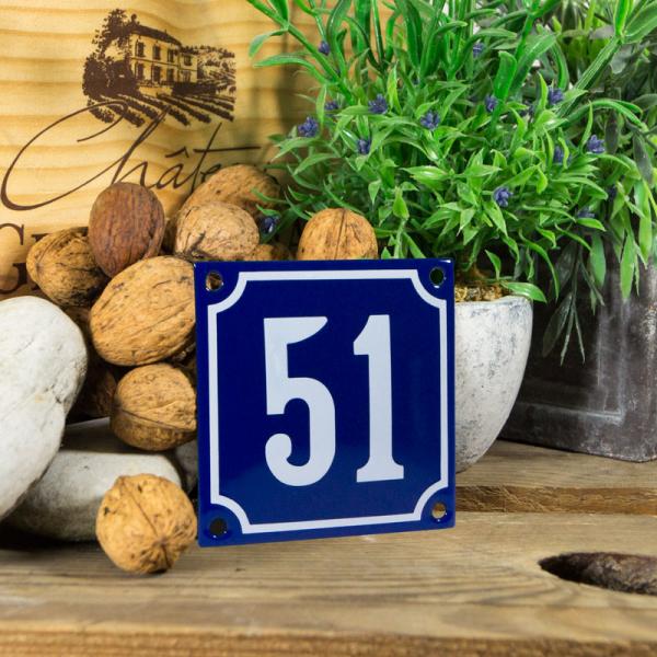 Emaille klein huisnummerbord blauw; nummer 51