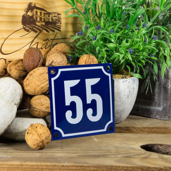 Emaille klein huisnummerbord blauw; nummer 55