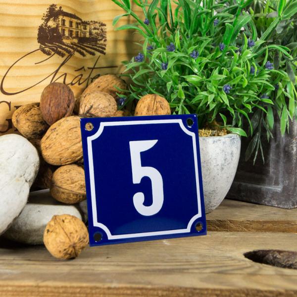 Emaille klein huisnummerbord blauw; nummer 5