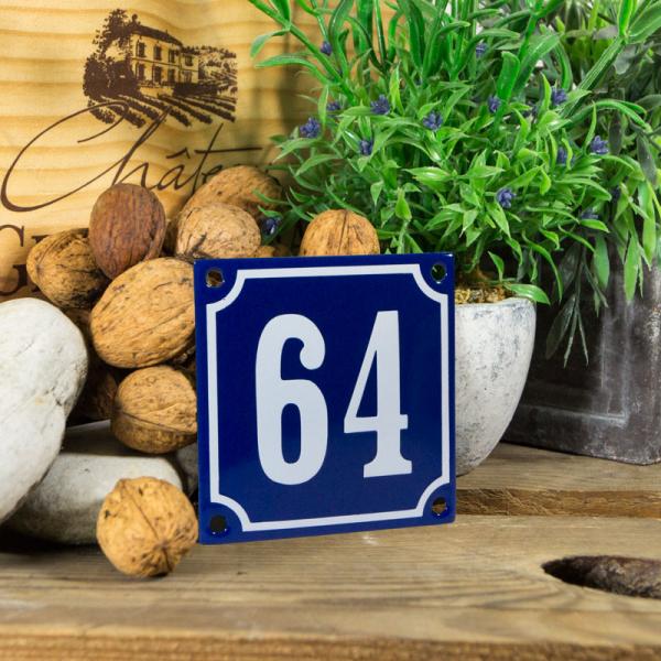 Emaille klein huisnummerbord blauw; nummer 64