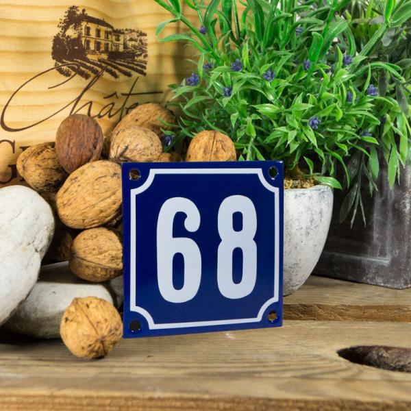 Emaille klein huisnummerbord blauw; nummer 68