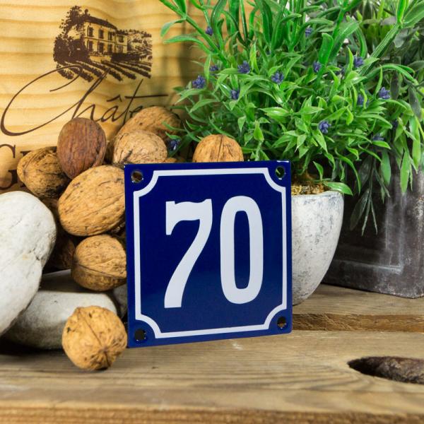 Emaille klein huisnummerbord blauw; nummer 70