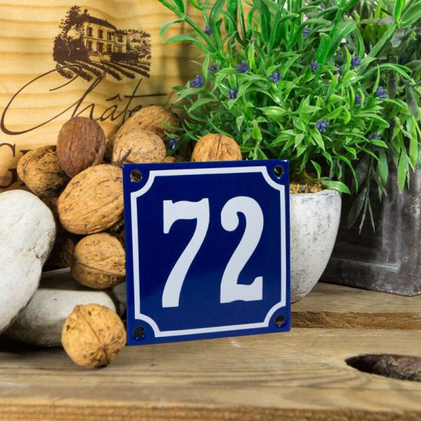 Emaille klein huisnummerbord blauw; nummer 72