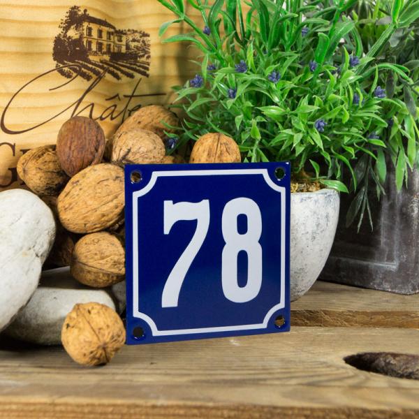 Emaille klein huisnummerbord blauw; nummer 78