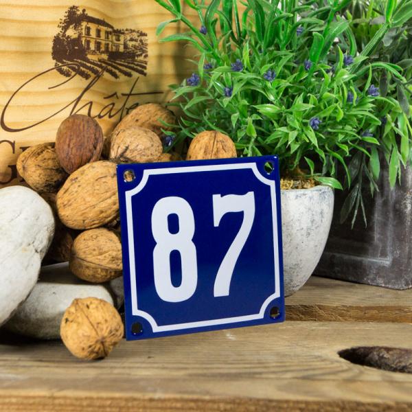 Emaille klein huisnummerbord blauw; nummer 87