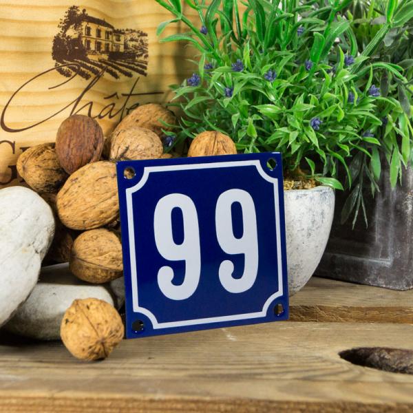 Emaille klein huisnummerbord blauw; nummer 99