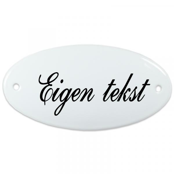 Emaille deurbord ovaal eigen tekst zonder kader