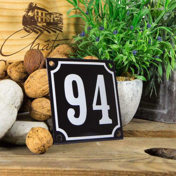 Emaille huisnummerbord 'zwart' klein nummer 94