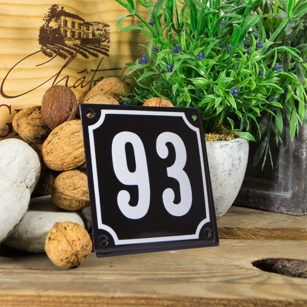 Emaille huisnummerbord 'zwart' klein nummer 93