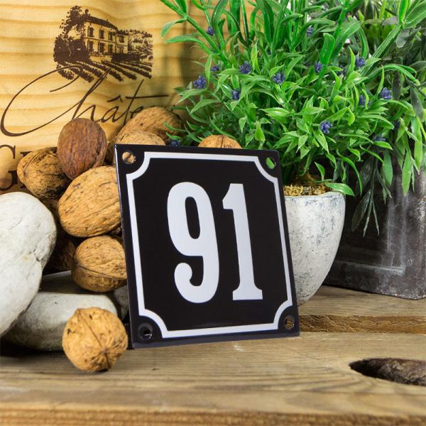 Emaille huisnummerbord 'zwart' klein nummer 91