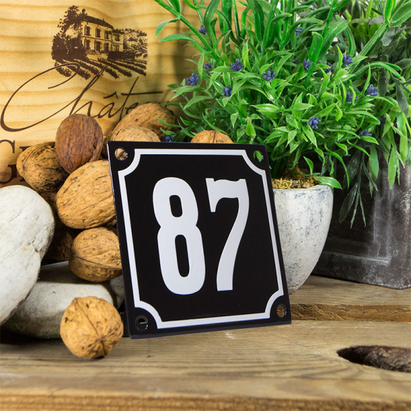 Emaille huisnummerbord 'zwart' klein nummer 87