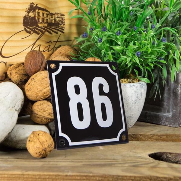 Emaille huisnummerbord 'zwart' klein nummer 86