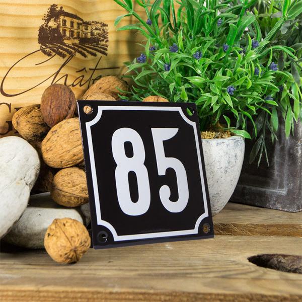 Emaille huisnummerbord 'zwart' klein nummer 85