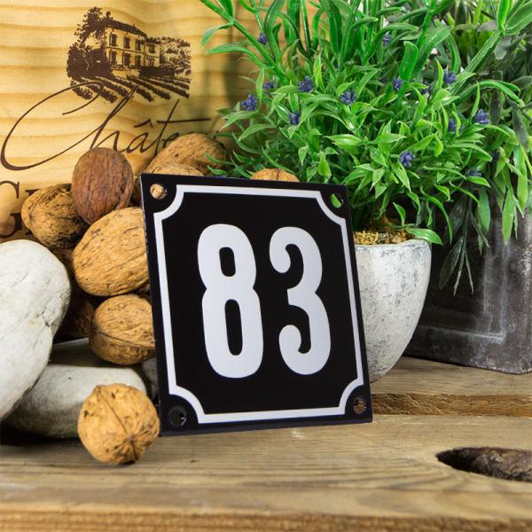 Emaille huisnummerbord 'zwart' klein nummer 83