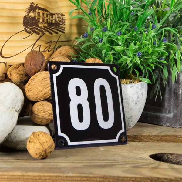 Emaille huisnummerbord 'zwart' klein nummer 80
