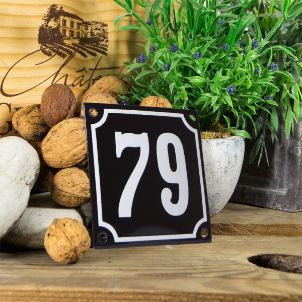 Emaille huisnummerbord 'zwart' klein nummer 79