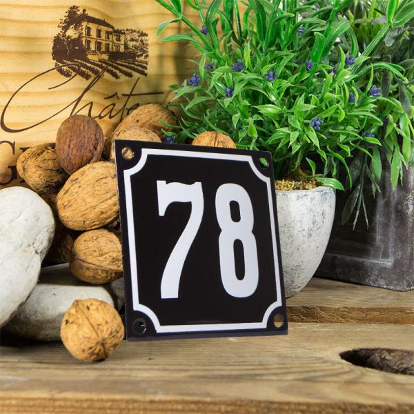 Emaille huisnummerbord 'zwart' klein nummer 78
