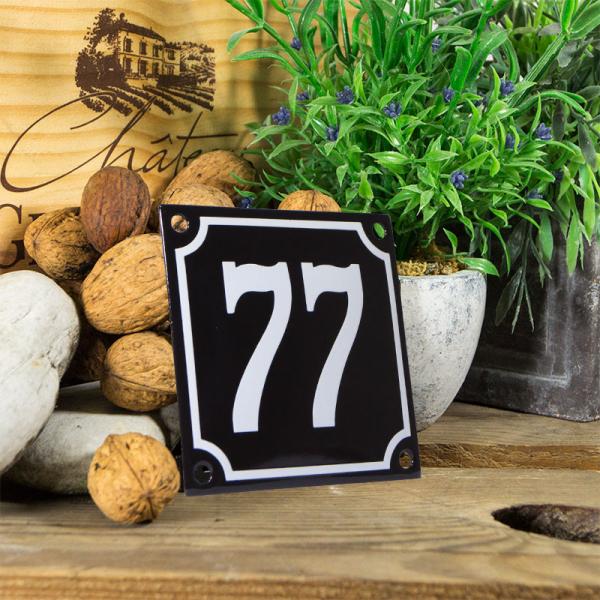 Emaille huisnummerbord 'zwart' klein nummer 77