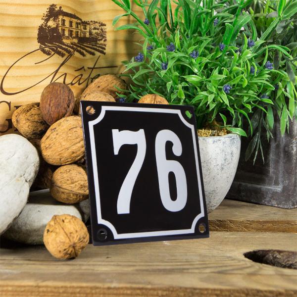 Emaille huisnummerbord 'zwart' klein nummer 76