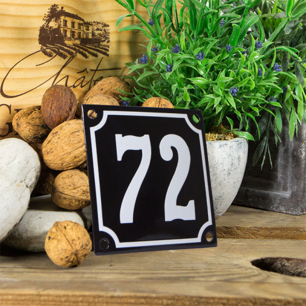 Emaille huisnummerbord 'zwart' klein nummer 72