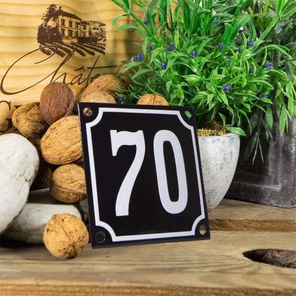 Emaille huisnummerbord 'zwart' klein nummer 70