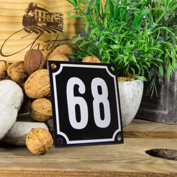 Emaille huisnummerbord 'zwart' klein nummer 68