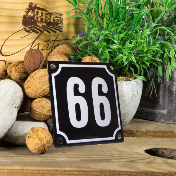 Emaille huisnummerbord 'zwart' klein nummer 66