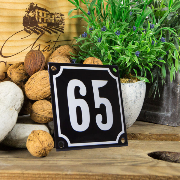 Emaille huisnummerbord 'zwart' klein nummer 65