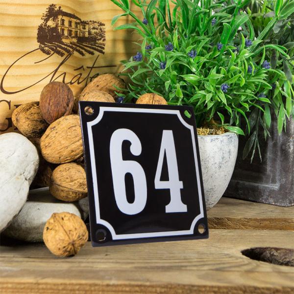 Emaille huisnummerbord 'zwart' klein nummer 64