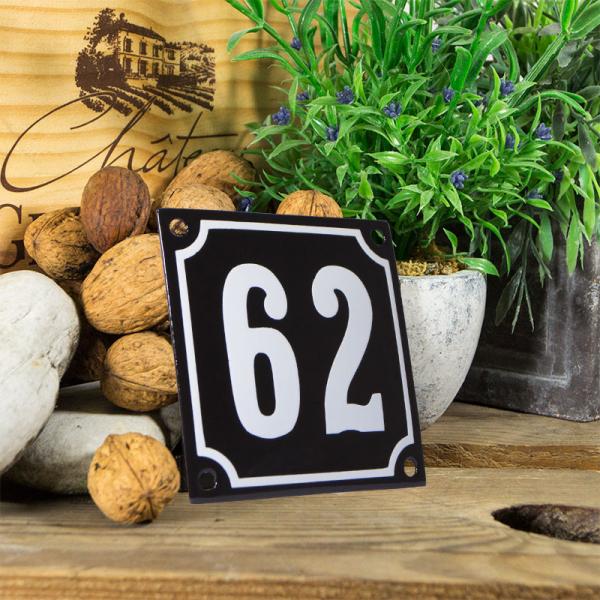 Emaille huisnummerbord 'zwart' klein nummer 62